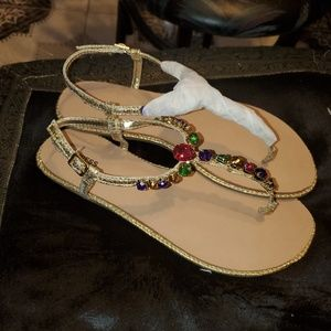 Express Colorful Gemstone Thong Sandals Sz 6 NEW